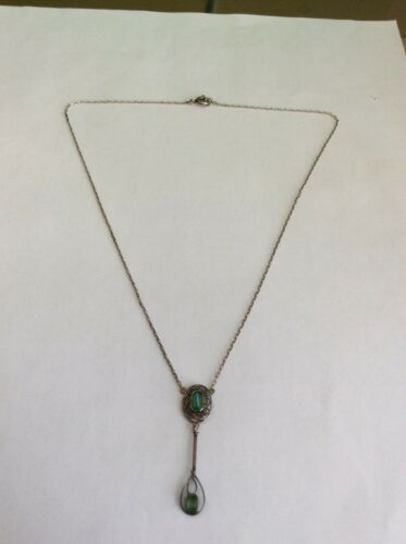 Antique Art Deco Sterling Silver Green Stone (Tourmaline?) Necklace Laveliere