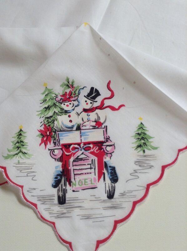 Darling New Vintage Style  Christmas Snow Couple Handkerchief