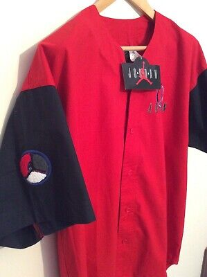 Vintage Nike Air Jordan 8 1992-93 Cotton Button Up Baseball Jersey Deadstock!