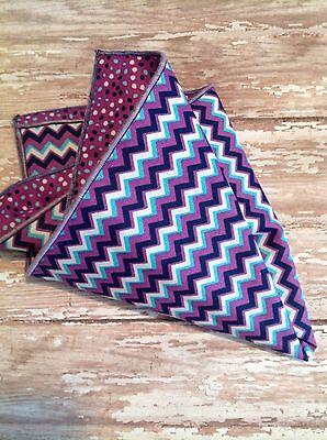 NEW Men's Pocket Square Purple Blue Chevron Polka Dots Reversible Handkerchiefs