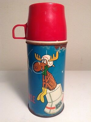 VINTAGE METAL LUNCH BOX THERMOS ROCKY AND BULLWINKLE 1963