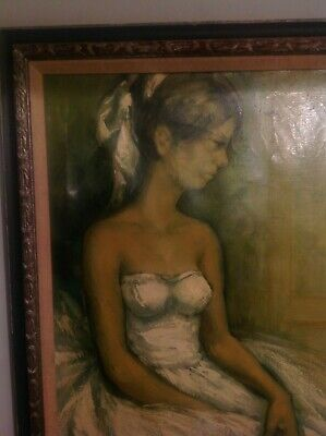 ANTIQUE PAINTING FRENCH SCHOOL GIRL PREPARING FOR BALLROOM DANCING