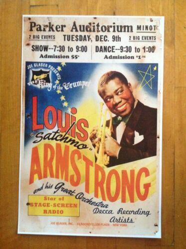 Louis Armstrong JAZZ POSTER Satchmo Parker Auditorium Minot Poster 11 X 17