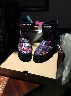 B/New Women Uggs Graffiti Pop Boots. Size 8 Black Multi, 2in Wedge Heel