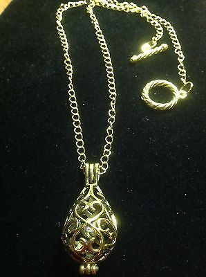Bell Necklace (Gold Plated Chain With Chiming Bell Pewter Pendant necklace)