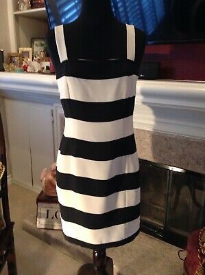 FINITY Black White Silk Striped Flirty Summer Club Mini Dress Sz 10 - Flirty Striped Dress