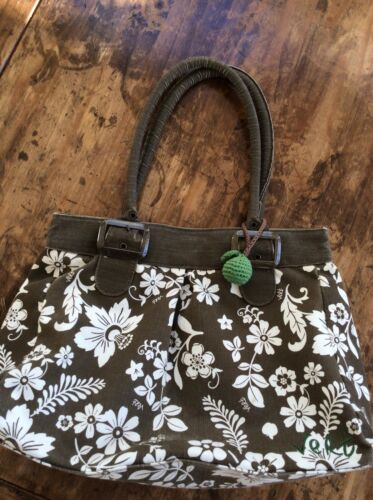 womens handbags and purses/VERT Olive Green/Brown Cotton Can