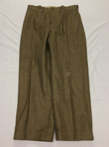 VINTAGE 50S FRENCH ARMY ARMEE GREEN WOOL MENS MILITARY PANTS HEAVY WARM 34 X 32