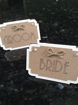 Bride & Groom Table Name Place Cards. Rustic Vintage Wedding Twine Bow & Pearls](Rustic Place Cards)
