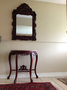 Entrance Table and Mirror Solid Wood