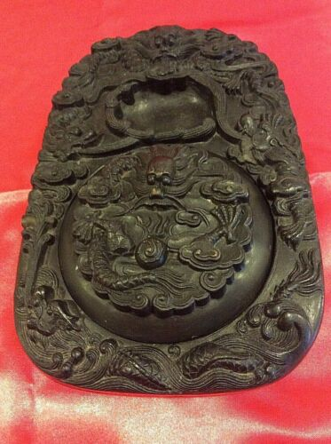 Antique Asian Inkstone with Lid - River Dragon - BEAUTIFUL!!
