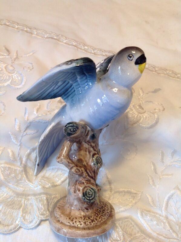 Vintage Trimont Ware Ceramic Porcelain Blue Parrot On Tree Stump