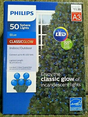 Philips 50 Count Blue Sphere Indoor/Outdoor LED Christmas St