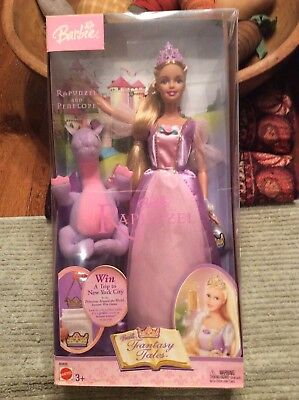 Mattel 2003 Barbie Doll Fantasy Tales Rapunzel And Penelope Dragon New