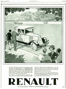 publicit ancienne voiture renault 8 et 6 cylindres 1929 p17 g bourdier. Black Bedroom Furniture Sets. Home Design Ideas