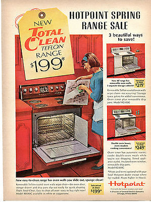 1966 GE General Electric Hotpoint Spring Range Oven Sale Print Ad