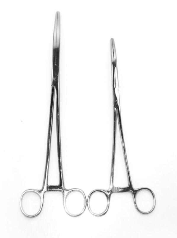 """2pc Set 10"""" + 12"""" Curved Hemostat Forceps Locking Clamps Stainless Steel"""