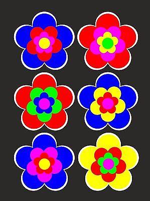 6 Sets verfügbar je 6 x 5 cm Retro Retrostyle Blumen Prilblume Blume Aufkleber