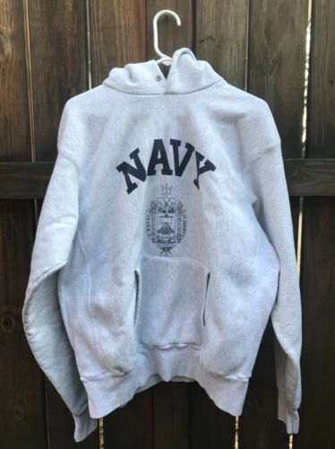 Vintage 90s USNA Reverse Weave Style Pullover Hoodie Size XL Made In USA NAVY
