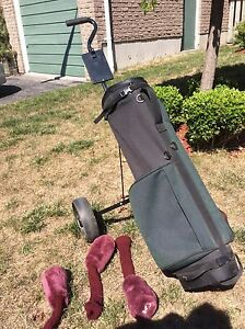 Golf bag, cart and women's clubs