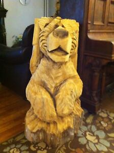Chain saw bear carving