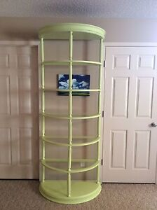 Unique Vintage Tall Painted Shelf with Glass Inserts