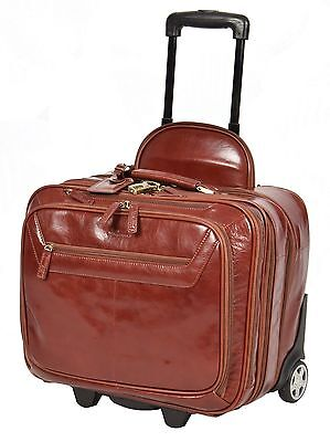 Genuine Leather Pilot case Hand Cabin Weekend Business Travel Trolley Bag COGNAC