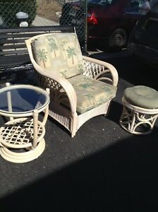 Reduced boca ratan chair table and stool