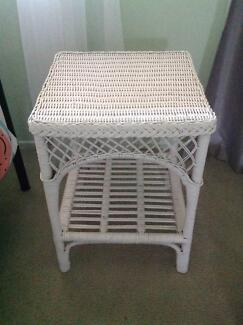 WHITE CANE BEDSIDE TABLE