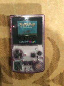 Gameboy colour clear purple with 5 games, snake light and case