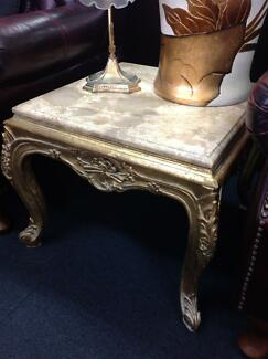 French coffee table ornate gold legs and marble top