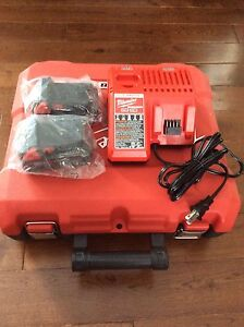Milwaukee M18 lithium batteries, case and charger.