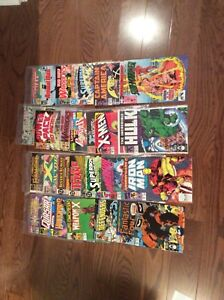 Comic books Marvel and DC.  26 total