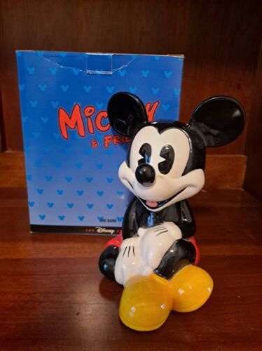 Vintage Mickey Mouse Ceramic Piggy Bank, Coin Bank From Disney Store