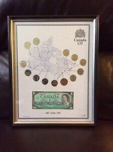 Canada 125 Coin & One Dollar Bill Note Set
