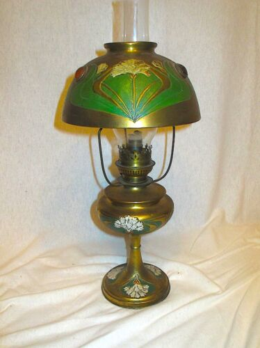 """1890s French Art Nouveau Hand Painted Oil Lamp with Cabochon Jewels - 21"""" tall"""