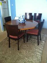 Dining Table hexagon shape and six chairs for free - good cond Soldiers Point Port Stephens Area Preview