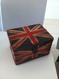 STORAGE BOX JEWELLERY VINTAGE UNION JACK RED WHITE BLUE CHEST Ascot Brisbane North East Preview