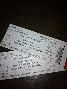 Hard copy pair One Republic tickets $80/pair MUST SELL!