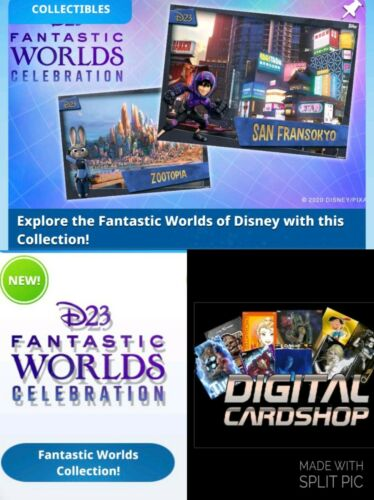 Topps Disney Collect D23 Fantastic Worlds Collection Red Green Blue 30 Card Set