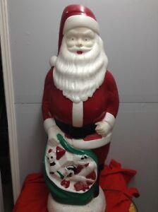 Père Noël Décoration extérieur vintage lumineux Santa Claus