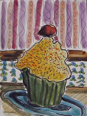 ORIGINAL Bakery Sketch watercolor and ink -cupcake