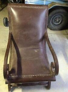 Antique brown leather chair Menai Sutherland Area Preview