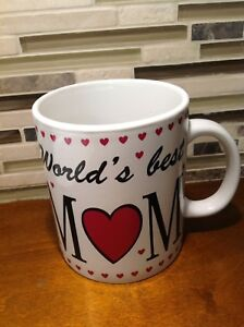 "Huge Large ""Worlds Best Mom"" Coffee Mug  Ceramic Gift Cup"