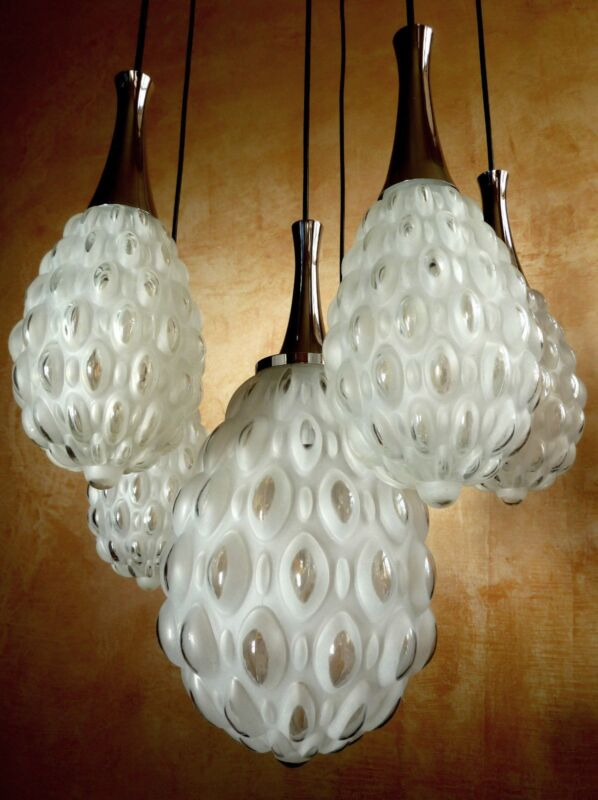 Small Organic Kaiser Pineapple Cascade Ceiling Lamp Frosted Bubble Glass 70´s