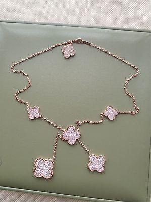 Van Cleef & Arpels Magic Alhambra 5 incos 18k Rose Gold Diamond necklace