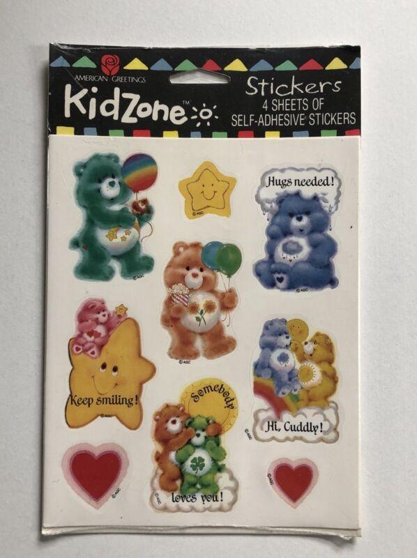 Vintage 1 NEW PKG American Greetings CARE BEARS Stickers / 4 Sheets KIDZONE