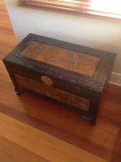 Camphor Carved Oriental Chest