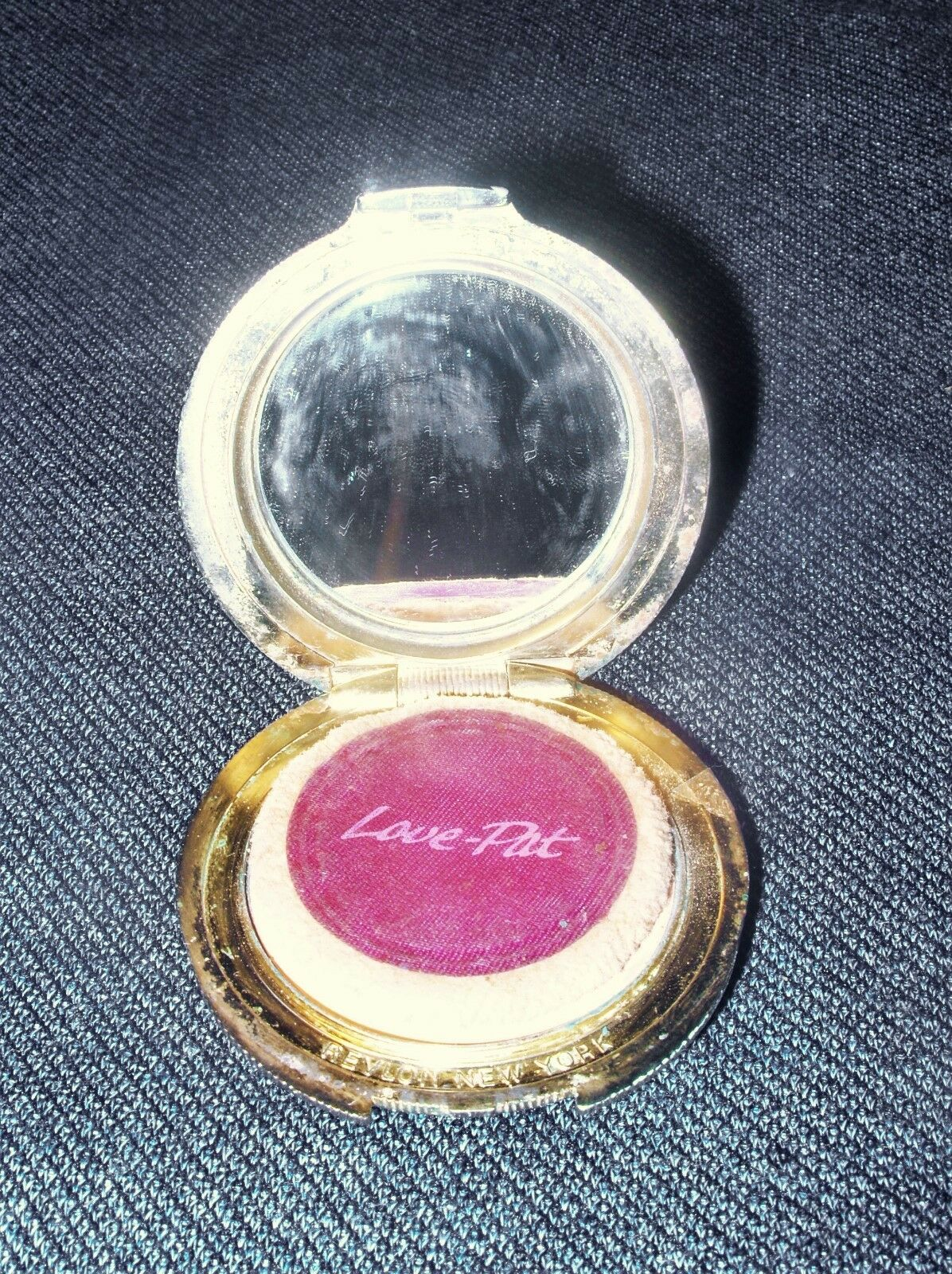 Vintage Revlon Goldtone Love Pat Powder Compact with Puff 2 Oz. Size VGUC