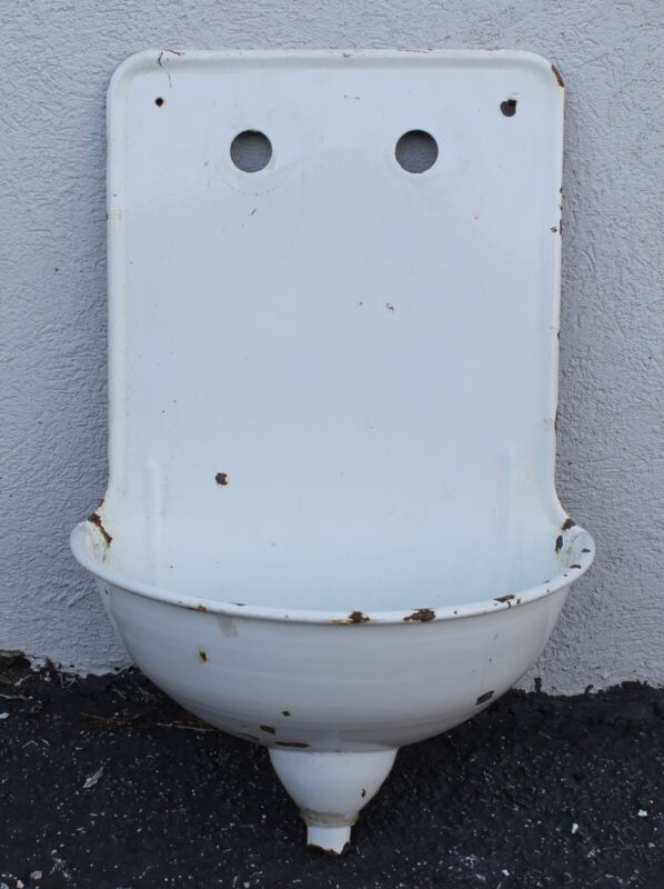 Antique French Lavabo Enamelware Wall Fountain Sink Primitive Garden Decor 2